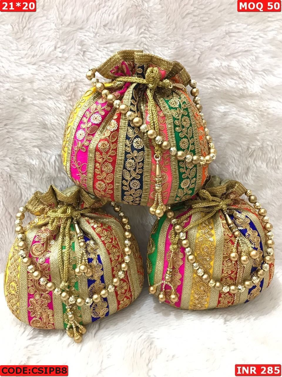 pouch Jewellery Packing Bag Handmade Potli Wholesale Wedding party,gift 20 Pcs