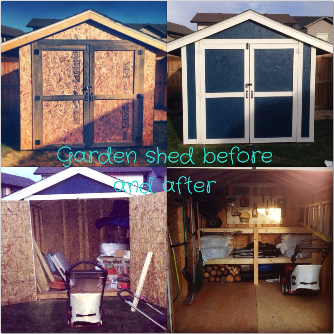 """Painted the shed. Built shelving (about 5-2x4""""x8' . And one sheet of 8x4' 1/2"""" ply wood) $20 at rona for rack to hang shovels & rakes. $7 dollars for the peg board. peg board Hooks and baskets bought at Rona. Used bike hooks to hang hot dog roaster and brackets to hang the ladder. In order to hang the weed whacker was harder since it had a weird metal piece on the back that needed to fit into some sort of sleeve. So we bought a small gate handle for it to slip into. Worked like a charm  ;)"""