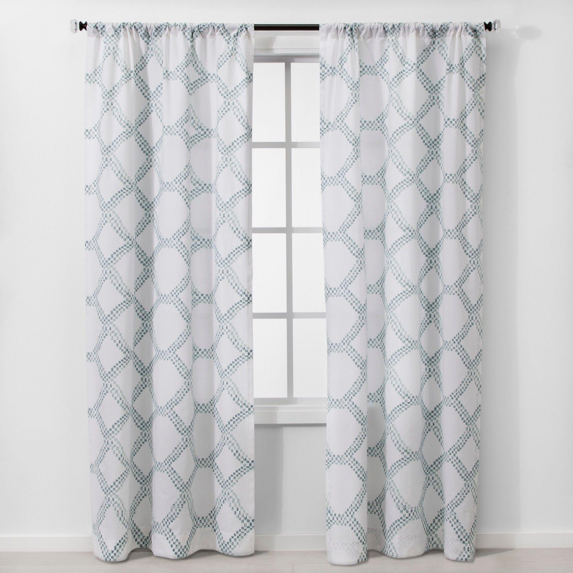 2pc 84 X40 Light Filtering Geometric Window Curtain Panels White