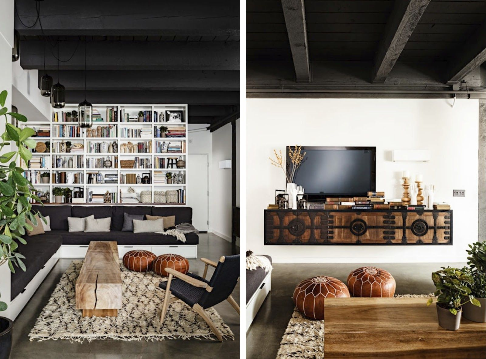 black and white and wood, good floating tv unit | Living ...