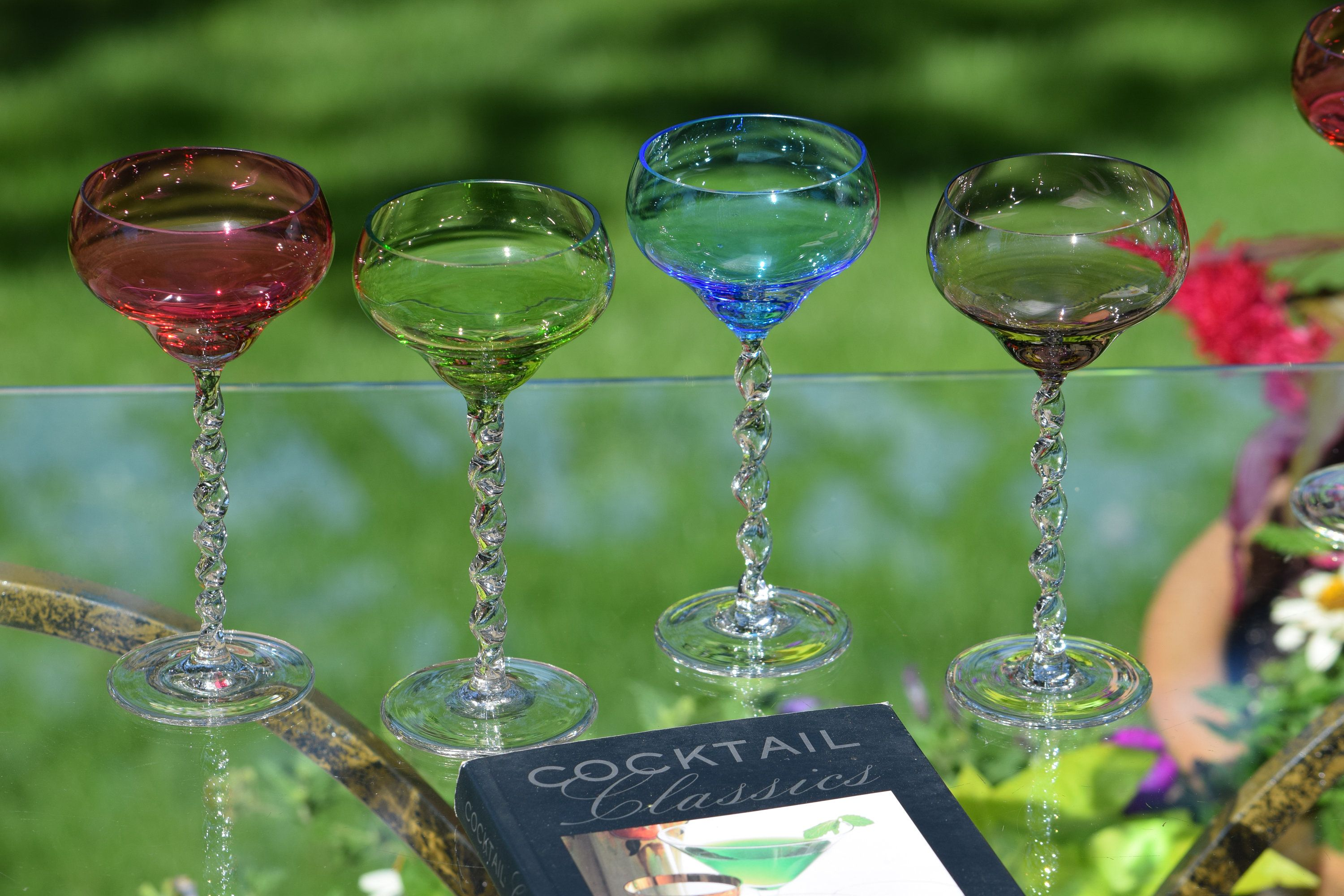 047a2f41c5c Vintage Crystal Multi Colored twisted clear stem Liquor - Wine Cordials  glasses