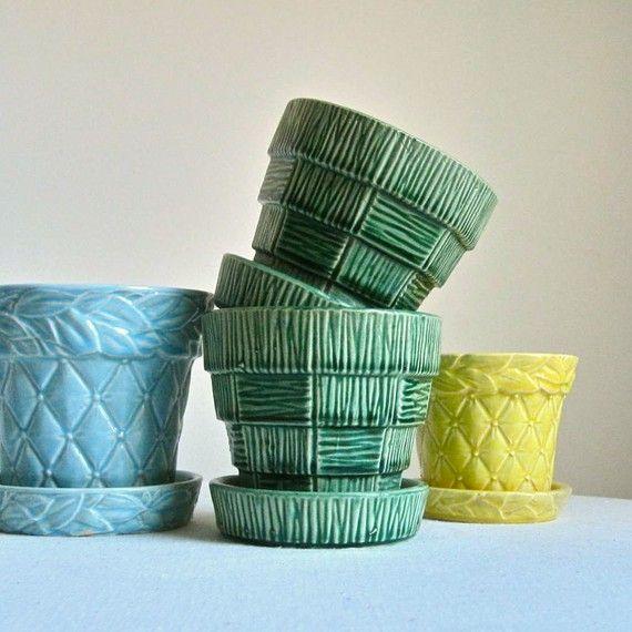 Vintage Mccoy Pottery Flower Pots Horticulture