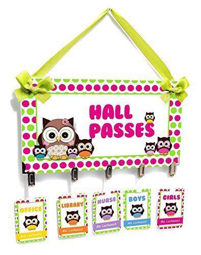 Customizable Owls And Dots Themed Classroom Hall Passes Sign   Teachers  Class Nurse Office Bathroom Kids