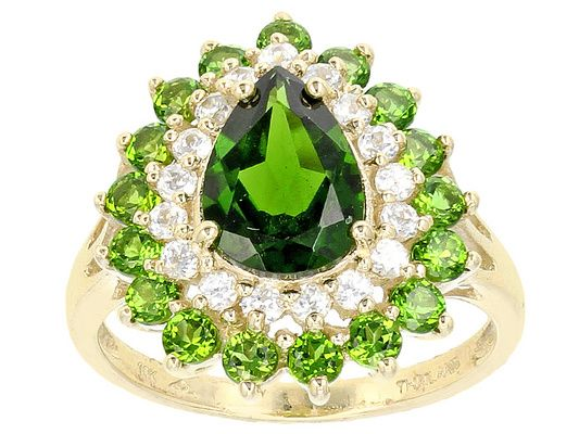 2.51ctw Pear Shape And Round Chrome Diopside With .40ctw Round White Z