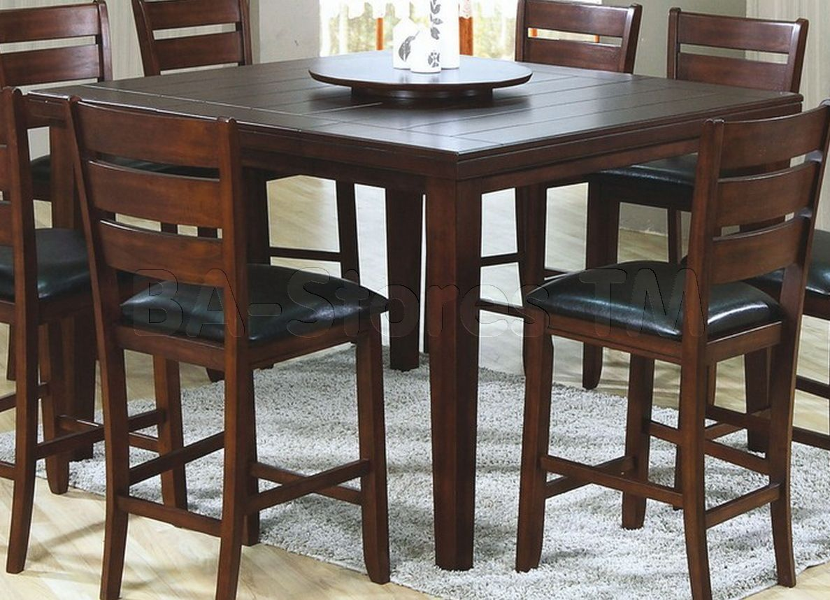 Dark Oak Veneer Square Pub Table With Lazy Susan Kitchen Table