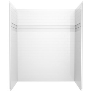 Delta Upstile 59 7 8 In W White Shower Wall Set Ace Hardware