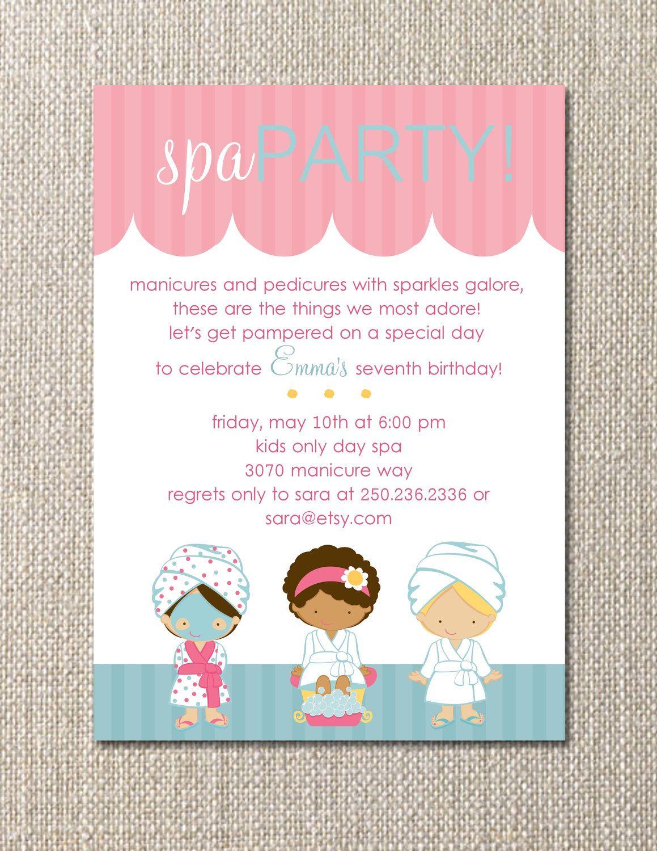 Diy Printable Salon Spa Party Birthday Invitation Customizable