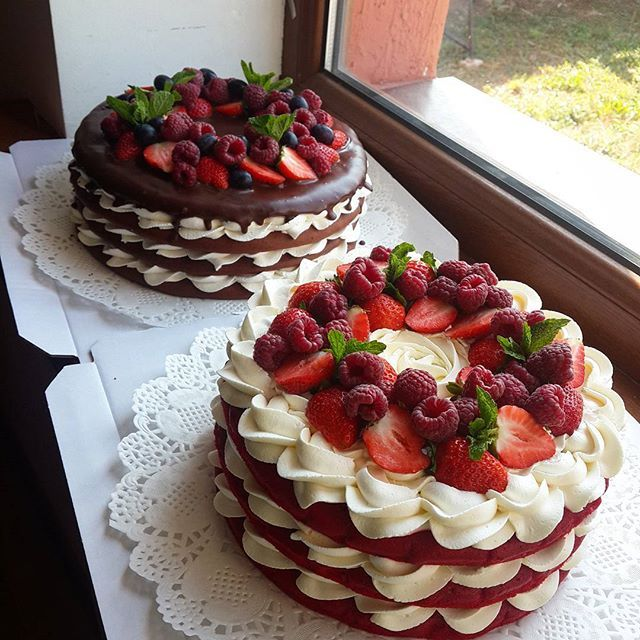 Layered cake with whipped topping and fresh fruit One with