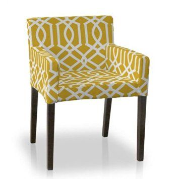 Admirable Dekoria Ikea Nils Chair Cover White Pattern On Yellow Pdpeps Interior Chair Design Pdpepsorg