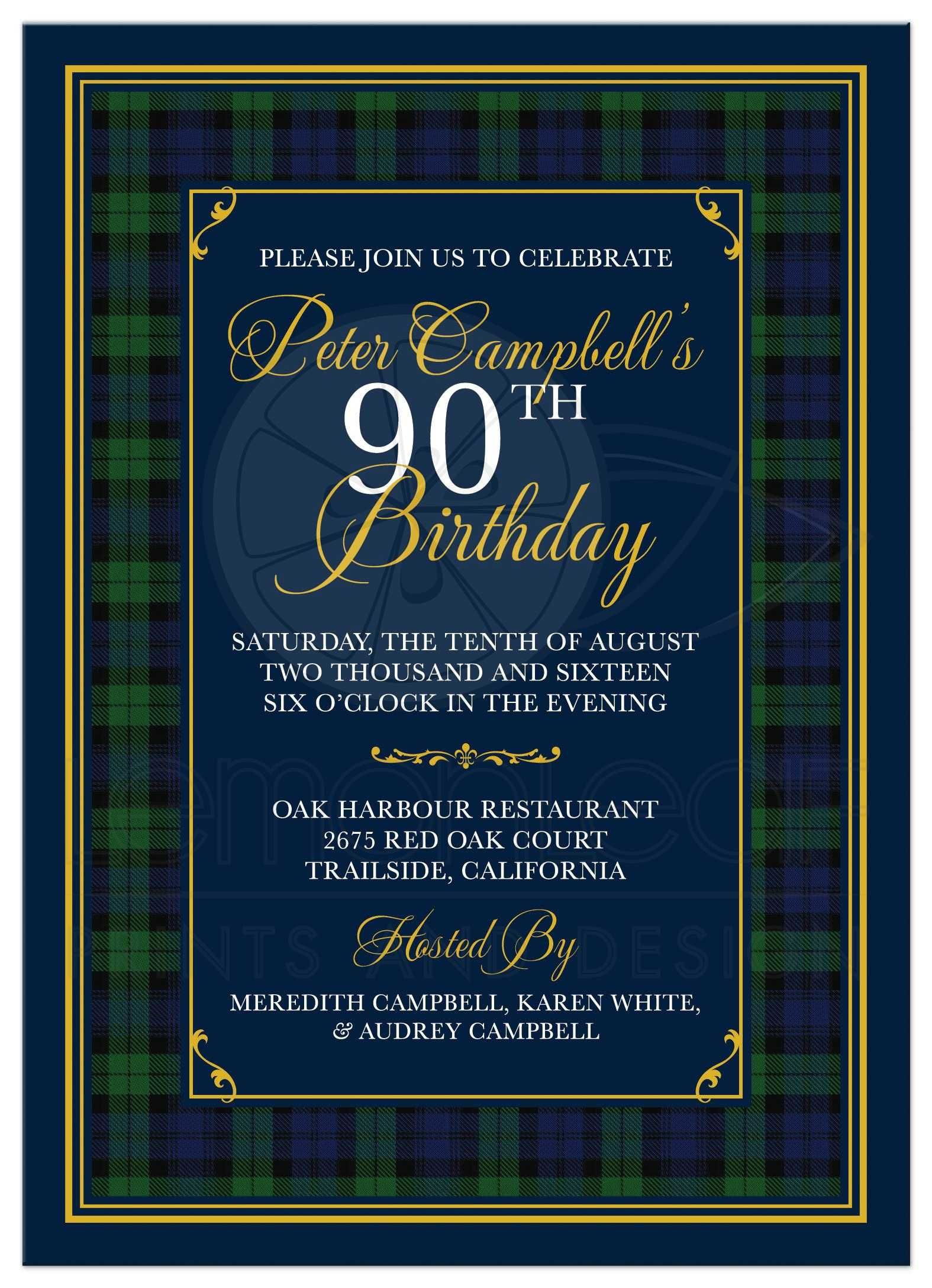 Black Watch or Campbell Tartan th Birthday Invitation Scottish