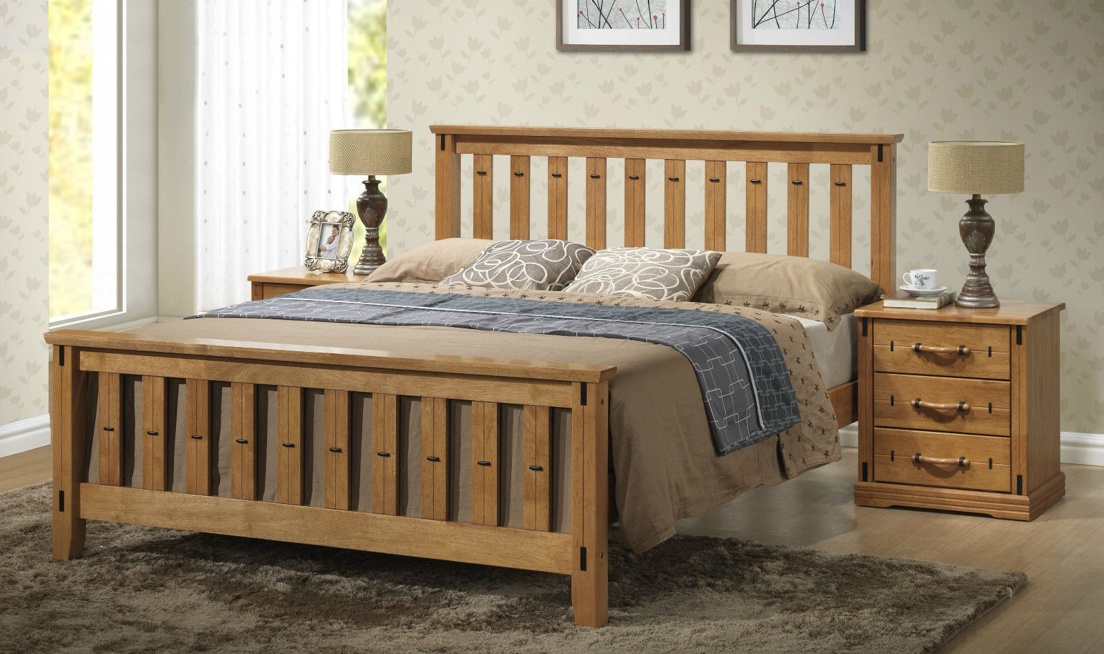 Shaker Style Double Bed Sofia Traditional Shaker Style Wooden Bed Frame 4ft6