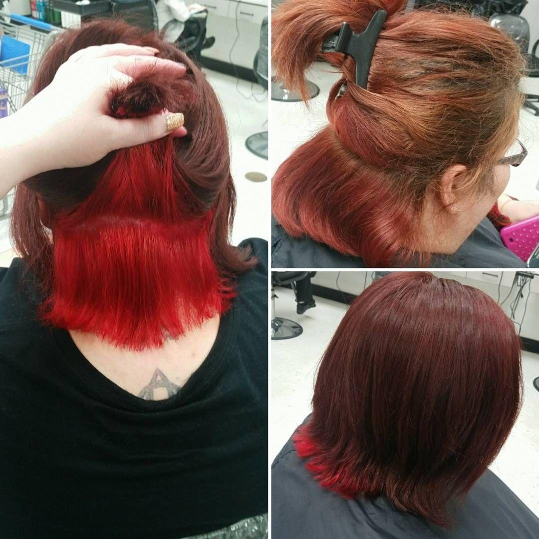 Underlights For A Pop Of Color Haircolor Matrix Pravana Pravanavivids Redhair Underlights Cosmetology Smartstyle Behind Red Hair Hair Color Color Pop