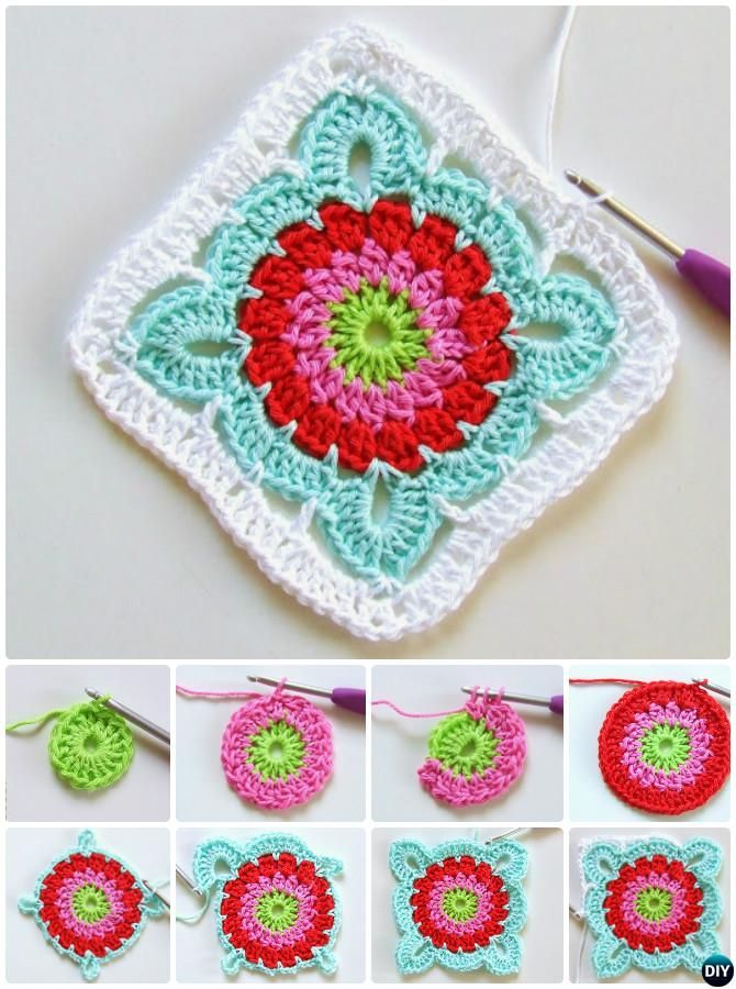 Crochet Patroon Flower Granny Square Free Pattern | GRANNY SQUARE ...