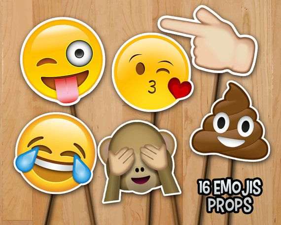 Emoji Birthday Photo Booth Props Instant Download 16 Emoji 6in