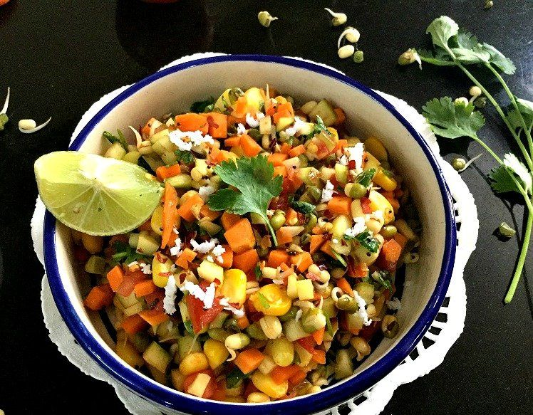 South Indian Style Green Moong Sprouts Raw Mango Salad Recipe Recipe Corn Salad Recipes Vegetable Salad Recipes Salad Recipes