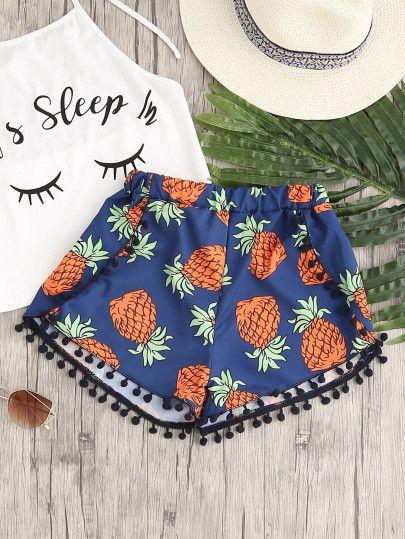 708ed04cedbb Pineapple Print Pom Pom Hem Shorts Beautiful Outfits, Cute Outfits, Summer  Outfits, Vegan