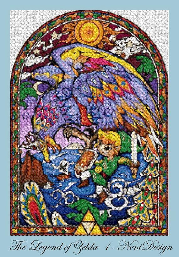 The Legend Of Zelda Nintendo Stained Glass 5 Cross