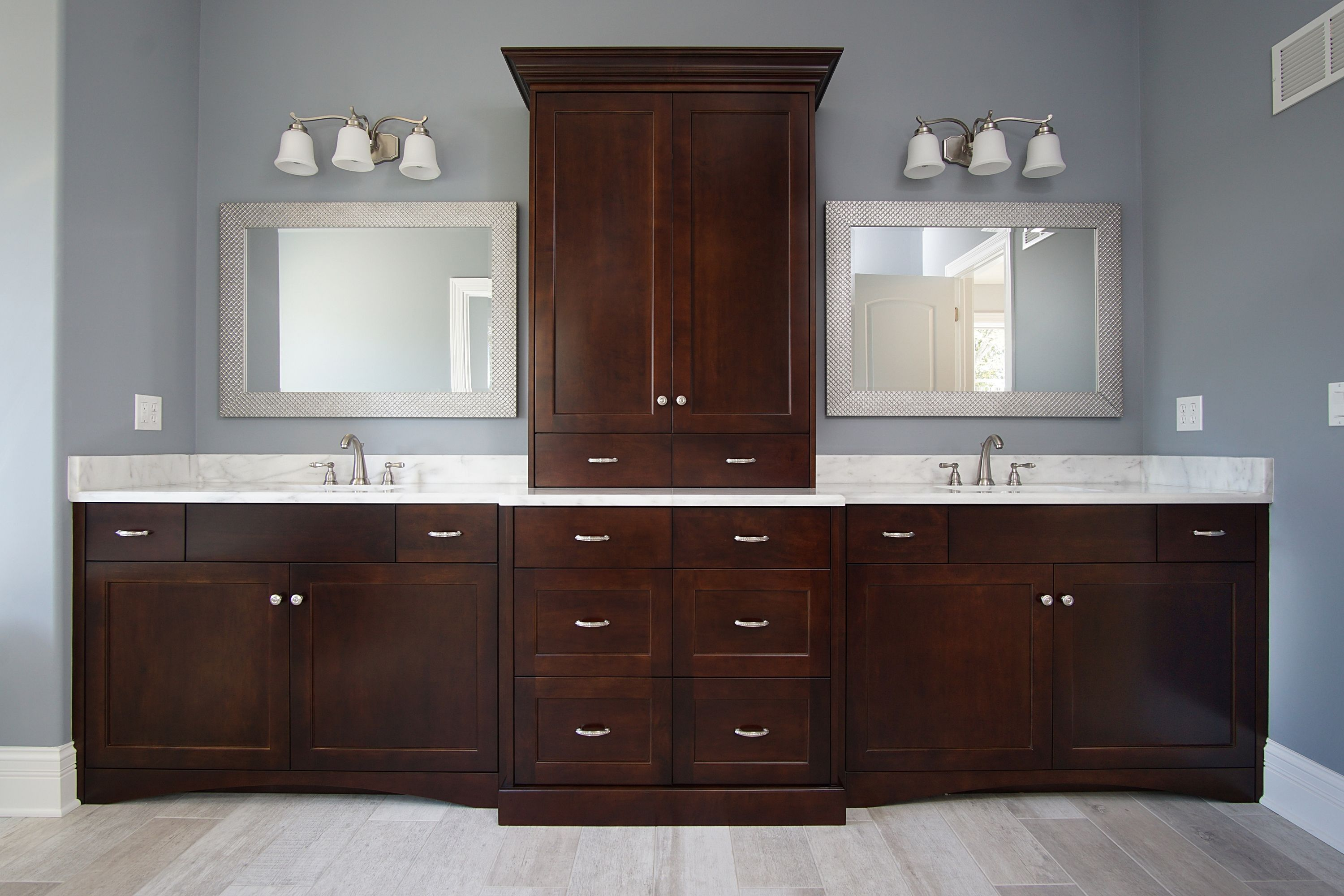 Master Bathroom His Her Vanity With Cabinet Tower Dark Brown Wood Cabinets Brown Bathroom Vanity Dark Brown Cabinets Dark Wood Cabinets