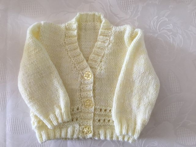 Girls' Clothing (0-24 Months) Baby yellow Hand Knitted Baby Cardigans Newborn