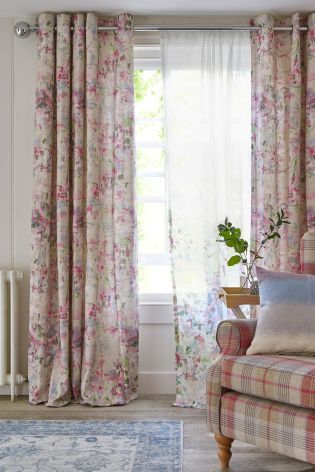 Buy Cotton Watercolour Floral Print Eyelet Curtains from the Next - kleine u küche