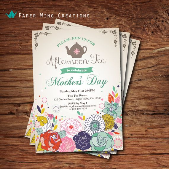 Mother S Day Tea Party Invitation Mother By Thepaperwingcreation