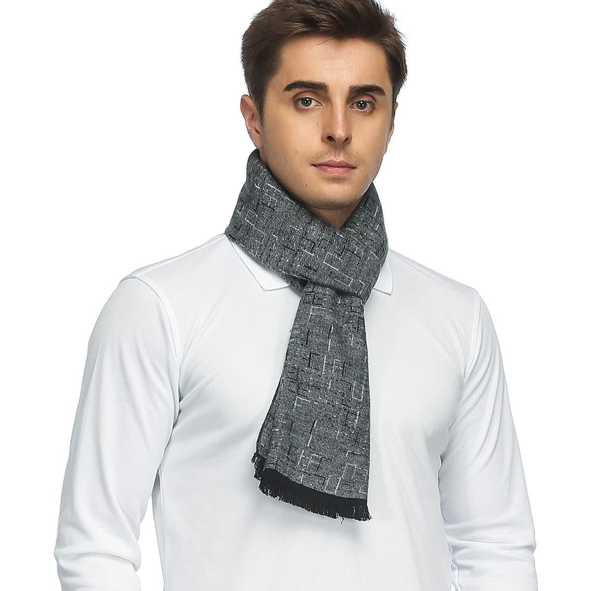 PoilTreeWing Long Soft Tassel Scarf Mens Classic Cashmere Winter Warm Scarf