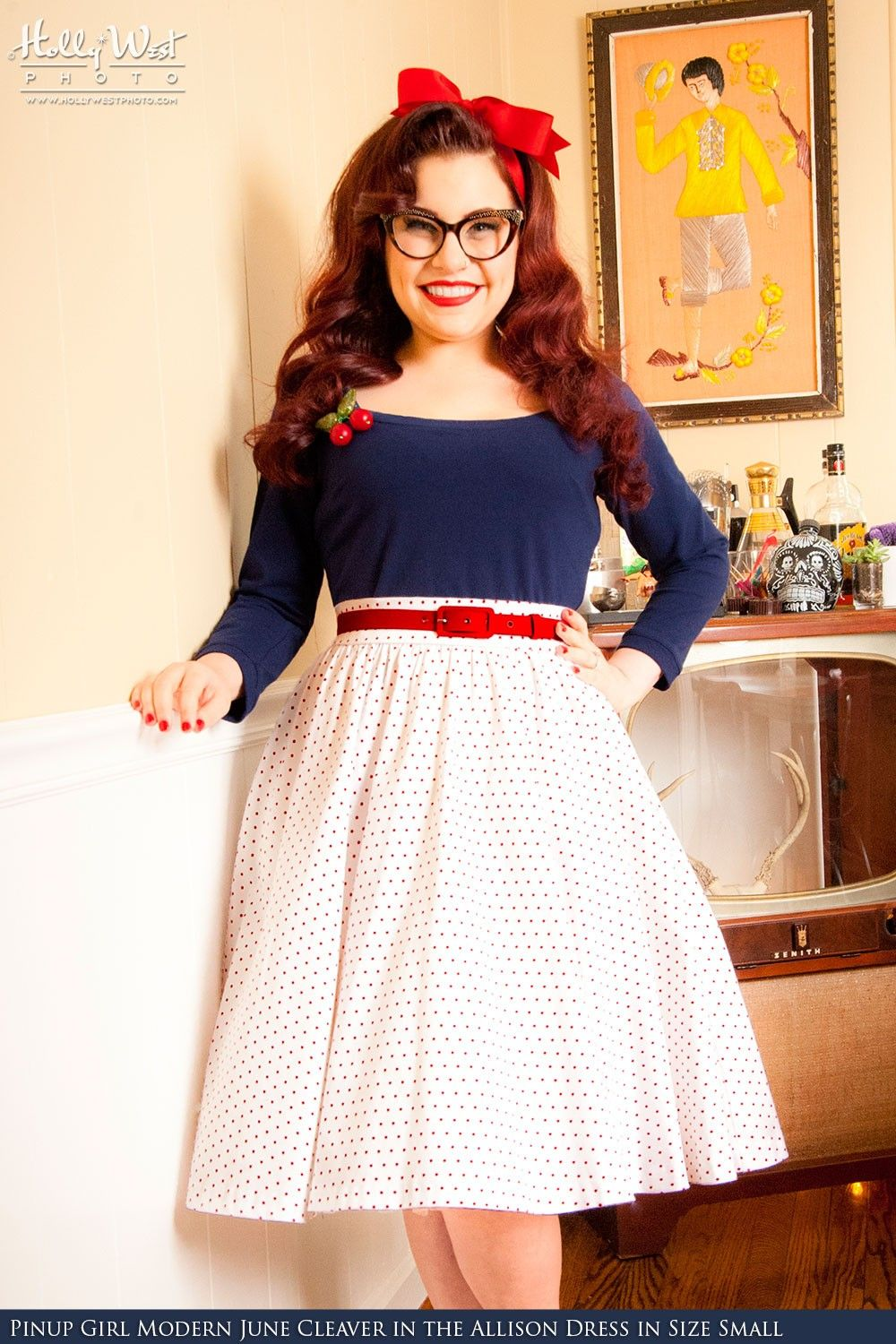 Pin Up Girl Clothing Com Pinup Couture  Allison Dress In White Pin Dots With Navy  Pinup