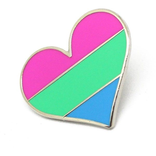 64353d6da Polysexual pride pin flag LGBTQ gay heart flag lapel pin ($9.20) ❤ liked on Polyvore  featuring jewelry, brooches, heart brooch, heart jewellery, ...