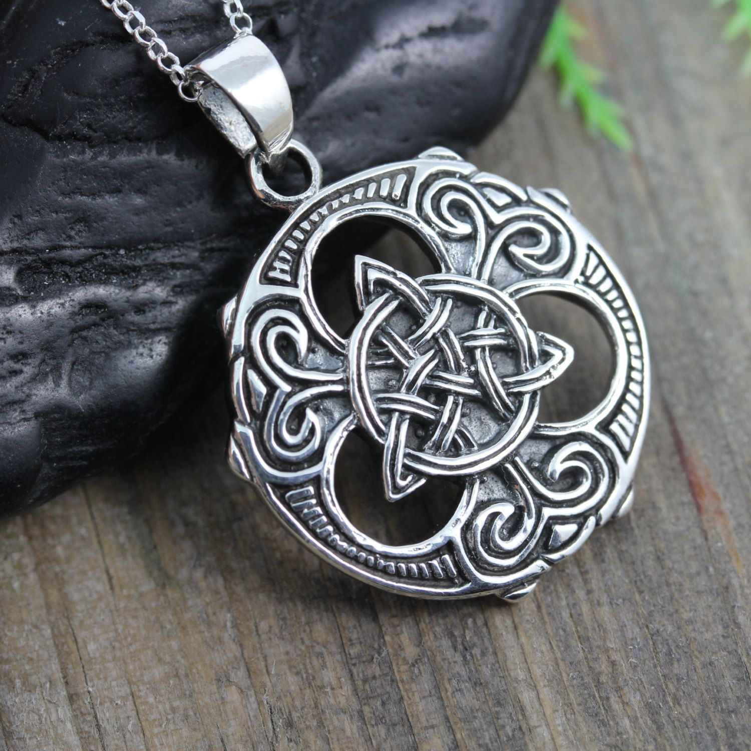 Mens Trinity Necklace Unisex Sterling Silver Trinity Knot Necklace Mens Irish Celtic Engraving No Include Celtic Jewelry Choose Chain Viking Jewelry Irish Jewelry Trinity Necklace
