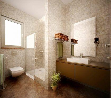Badezimmer Bilder Mosaik Dusche Einbaudusche Waschschrank Spiegel #bathroom  #style