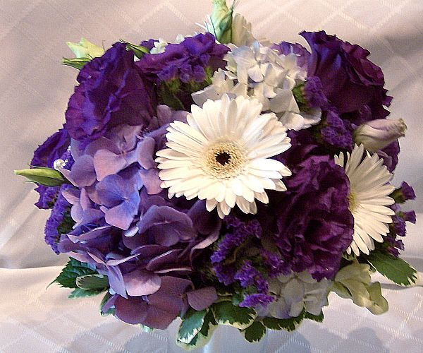 White Gerbera Daisies With Purple Lisianthus And Hydrangea Bouquet
