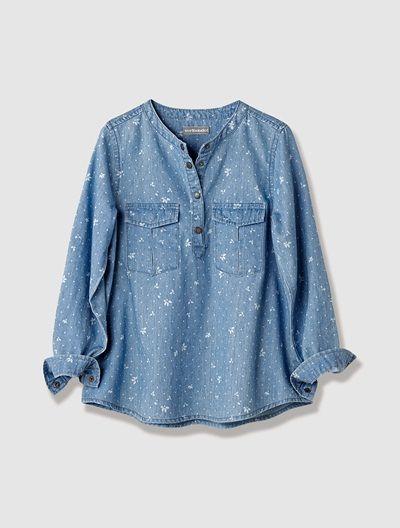 db79eef60 Camisa de Chambray Estampado - #Chambray #Printed #FocusTextil Camisa Infantil  Feminina, Jeans