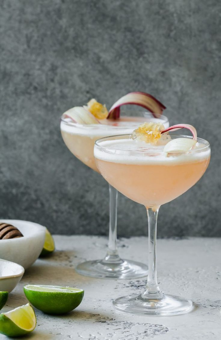 Rhubarb & Honey Pisco Sour Recipe | Le Petit Eats