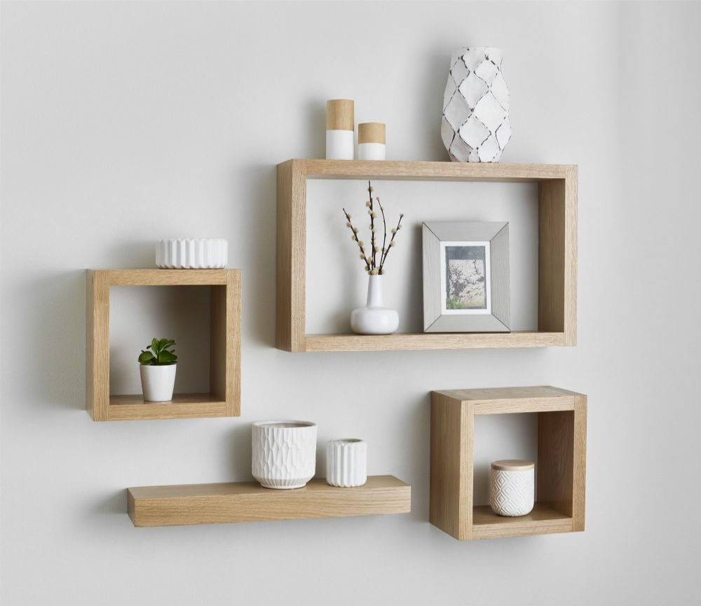 Solid American white oak floating cube shelves are made from the finest grade kiln dried white oak For a superior finish and distinctive appearance #floatingshelves