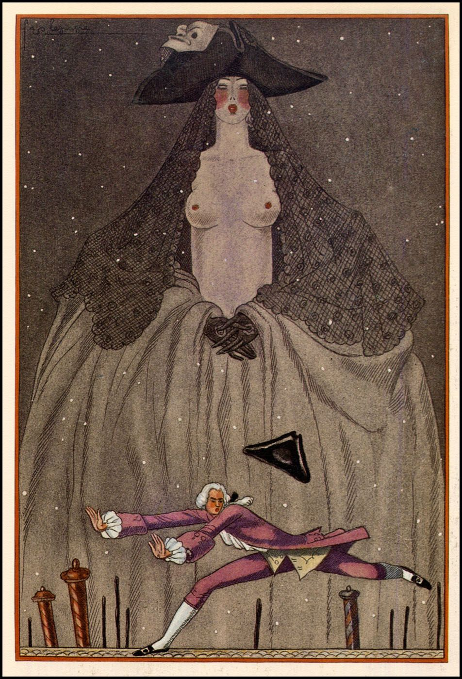 Georges Lepape — 1929,  for 'L'Initiation Vénitienne' by Henri de Régnier, published by the Société des amis du livre