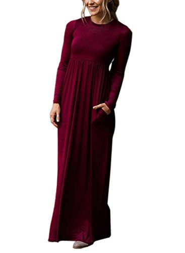 6ad86b6487 Dearlovers Women Crew Neck Long Sleeve Causal Solid Maxi