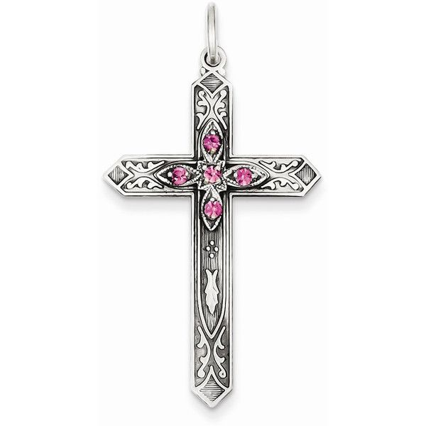 Sterling Silver October Birthstone Cross Pendant ❤ liked on Polyvore featuring jewelry and pendants