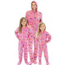 SleepytimePjs Pink Owls Family Matching Fleece One Piece Footed Pajamas