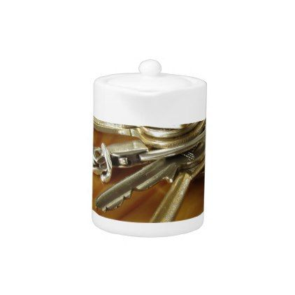 Bunch of worn house keys on wooden table teapot | Zazzle ...