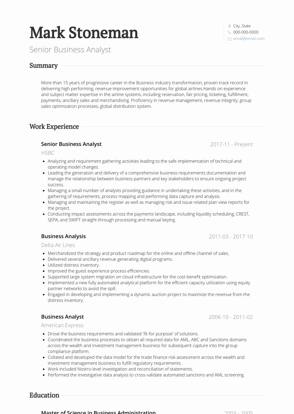 It Business Analyst Resume Fresh Senior Business Analyst Resume