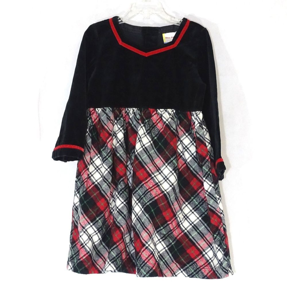 6613edf183113 Hanna Andersson Dress Girls Size 100 cm 4 Velour Flannel Holiday Black Red  Plaid #HannaAndersson #ChristmasHolidayParty