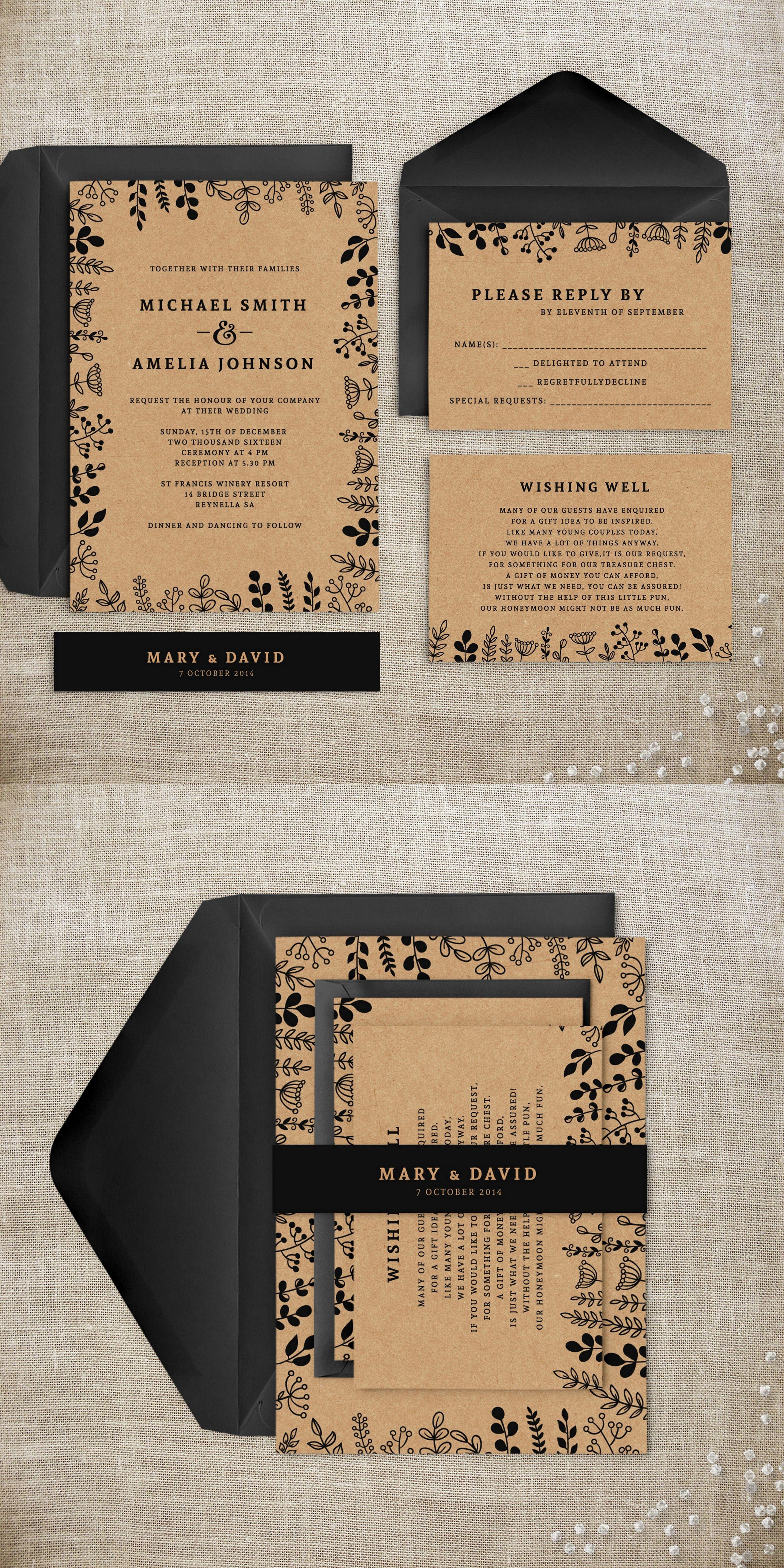 Kraft Rustic Wedding Invitation Suite. Leaves Invitation. Simplistic and…