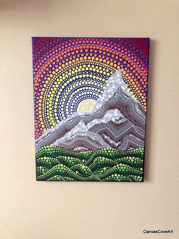 Sunset Sunrise Mountains Landscape Dot Acrylic Painting 11 X 14