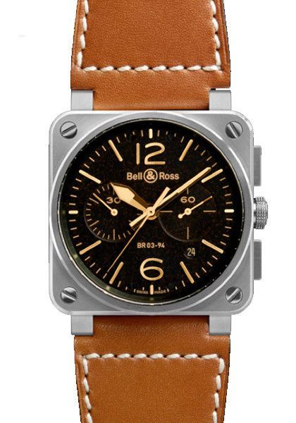 Bell Ross Bell Ross Br03 94 Golden Heritage 42mm Automatic Watches For Men Bell Ross Mens Watches Leather