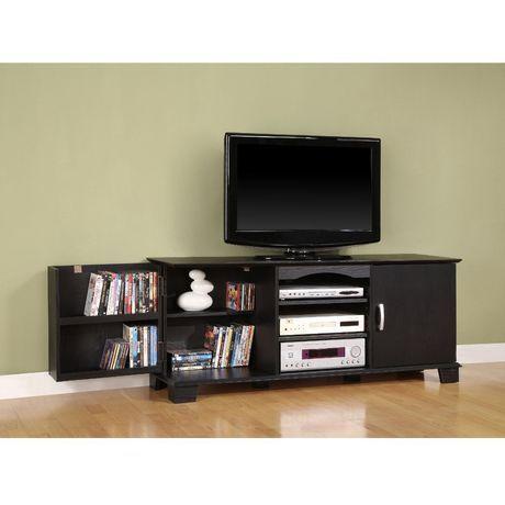 60 Black Wood Tv Stand With Media Storage Walmart Ca Tv Stand With Storage Tv Stand Console Tv Stand