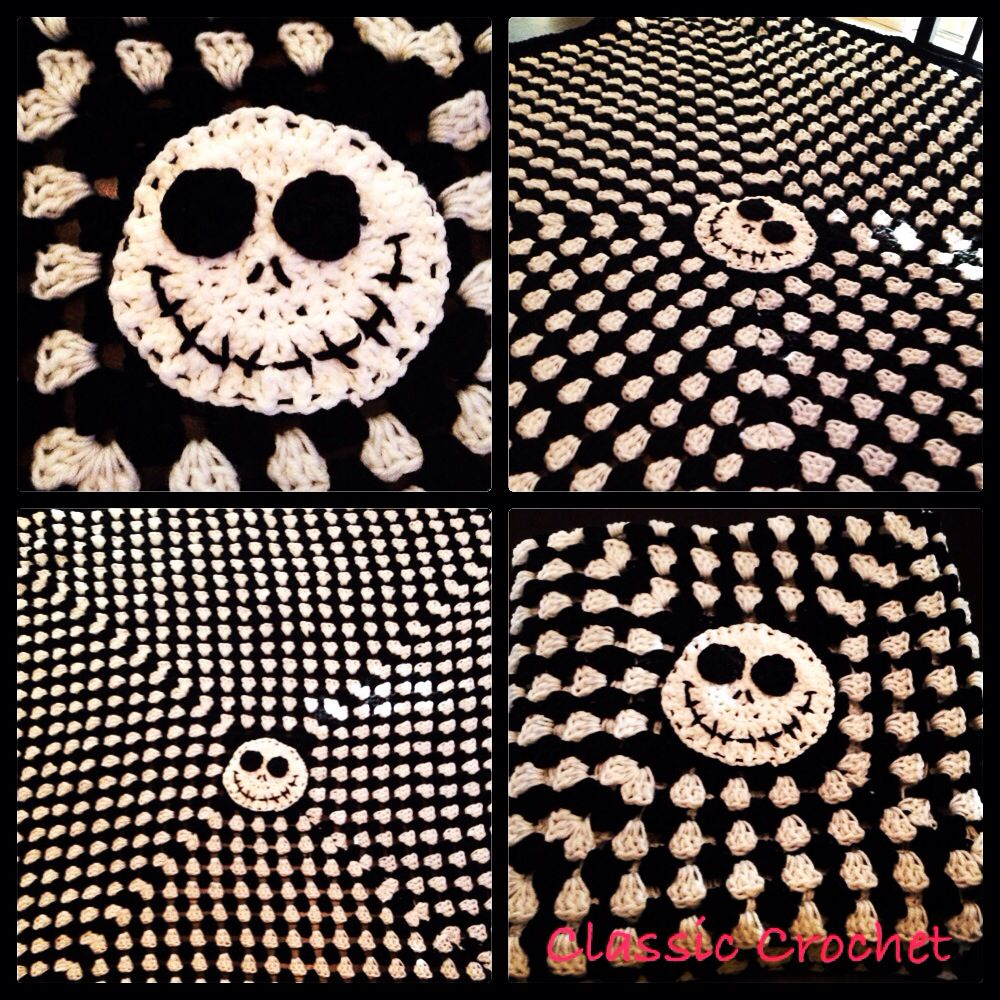 Jack Skellington blanket made from Red Heart yarn. Follow my page on ...