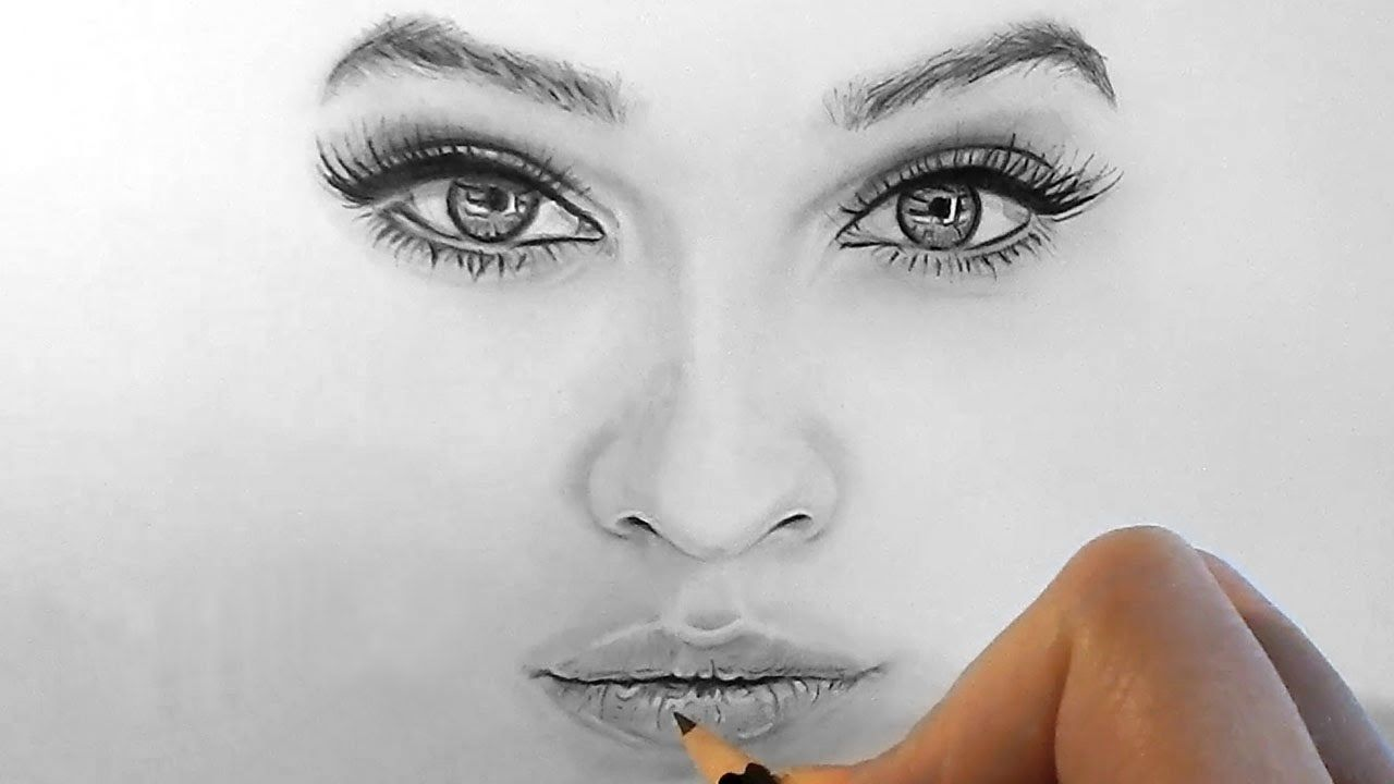 Timelapse | Drawing realistic eyes, nose and lips with ...
