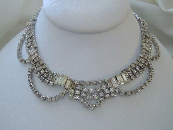 SALE Vintage Rhinestone NECKLACE WEDDING Necklace Baguette Dangle Bib Wedding Jewelry