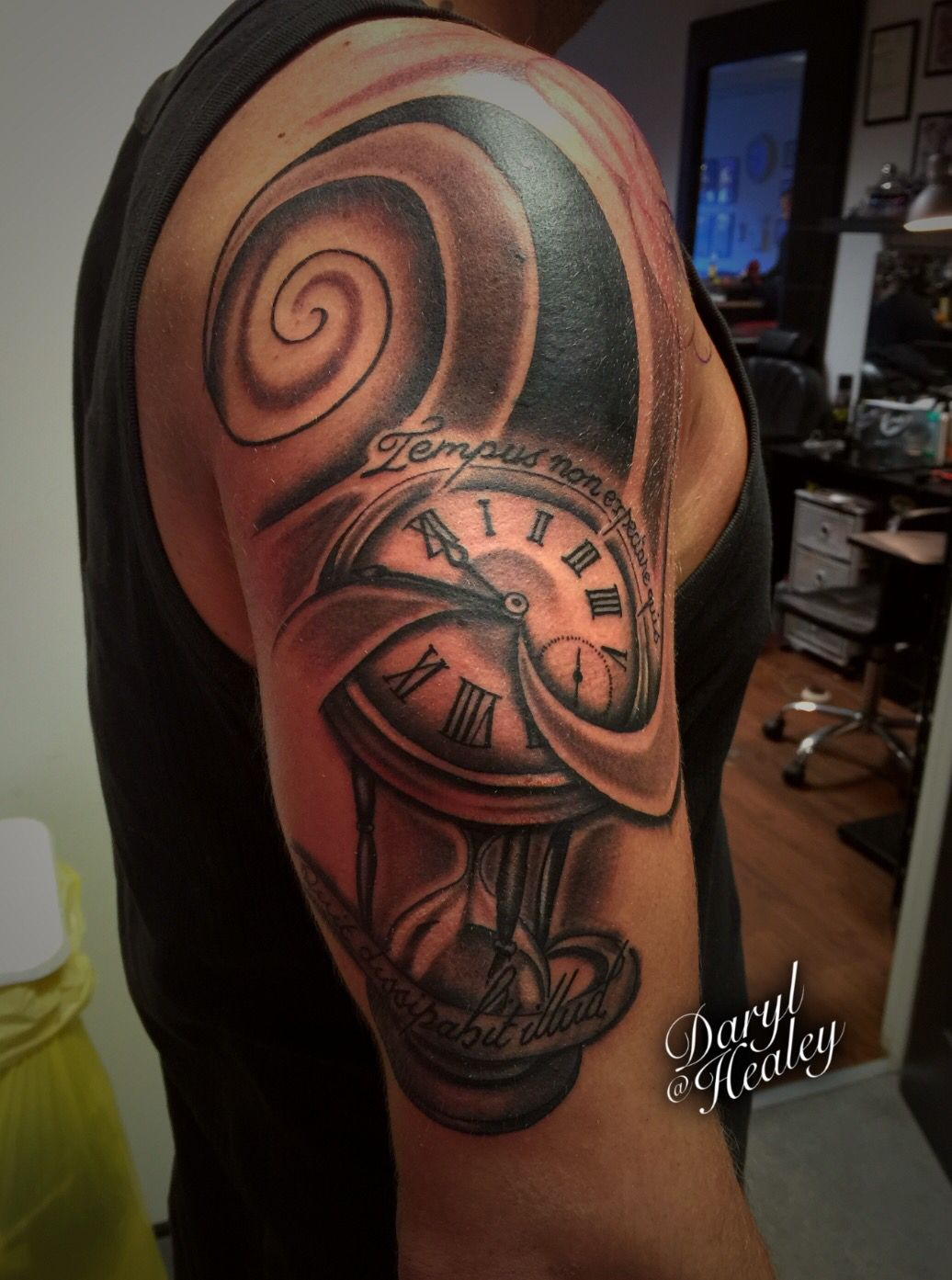 Time piece sleeve tattoo with pocket watch and hourglass
