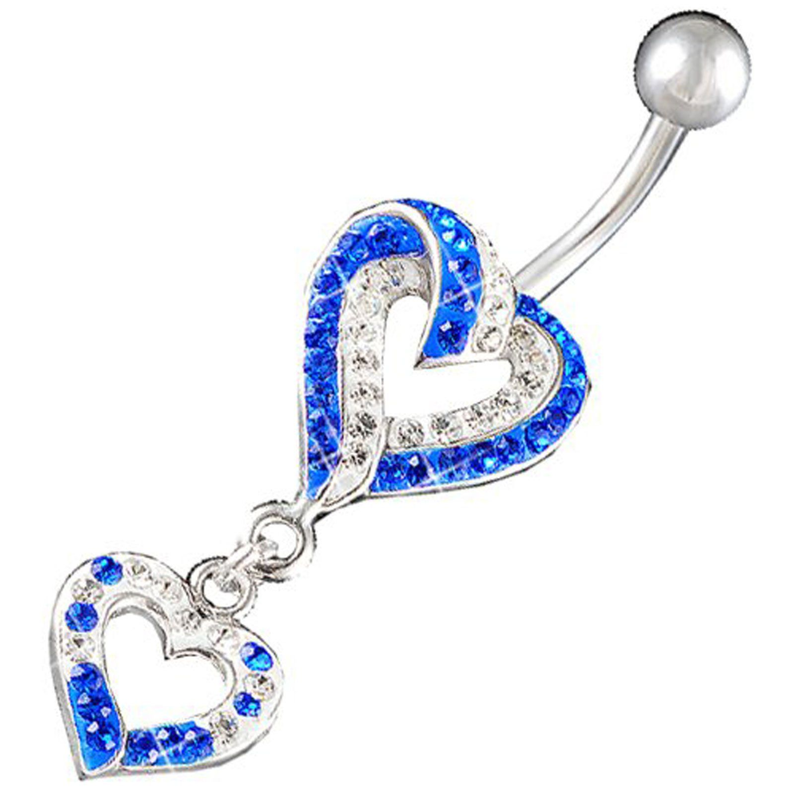 Swarovski Belly Button Rings Unique Heart Dangle Cute Pierce